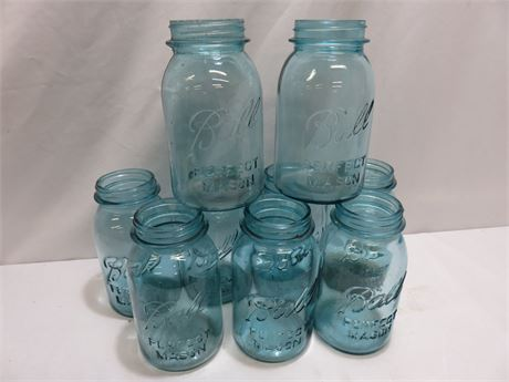 Vintage 9-Piece BALL Aqua Blue Mason Jar Lot