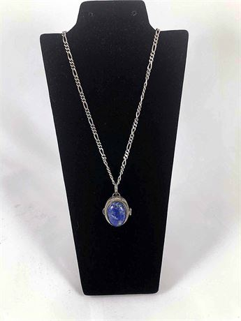Sterling Italian Azurite Locket Necklace