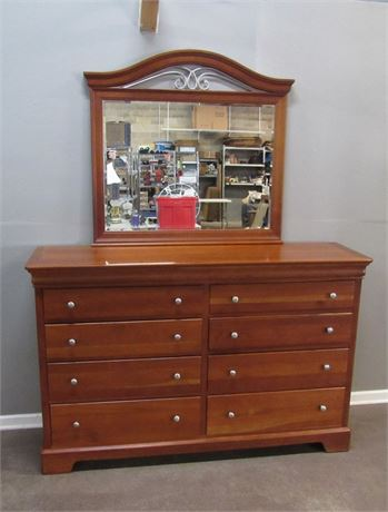 Nice Stanley Tall Dresser with Beveled Glass Mirror
