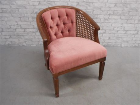 VELVET AND CANE SIDE CHAIR