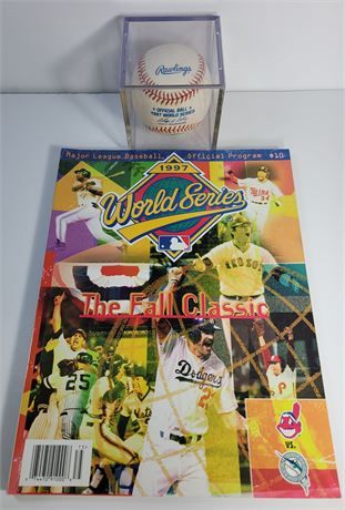 1997 World Series Official Game Ball and Official Stadium Program