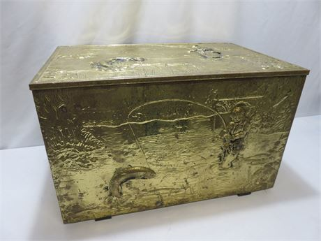 Vintage Embossed Brass Clad English Trunk