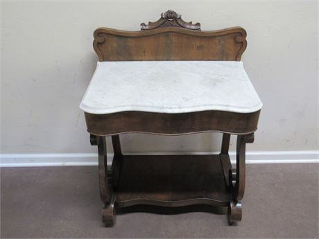 ANTIQUE MARBLE TOP SERPENTINE FRONT WASHSTAND