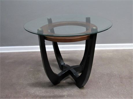 Modern/Contemporary Side Table - Wood with Beveled Glass Top
