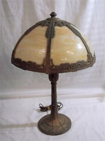 VINTAGE CAST METAL SLAG GLASS LAMP