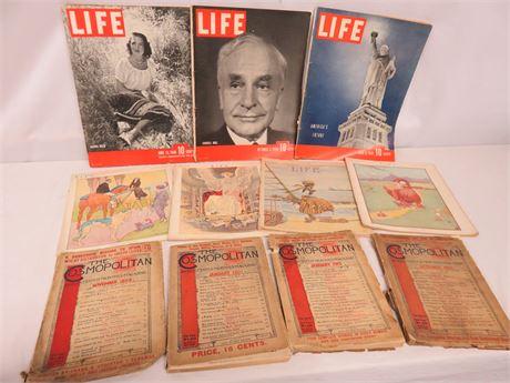 Vintage Cosmopolitan and Life Magazine Lot