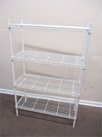 4-TIER WHITE WIRE SHELVING UNIT