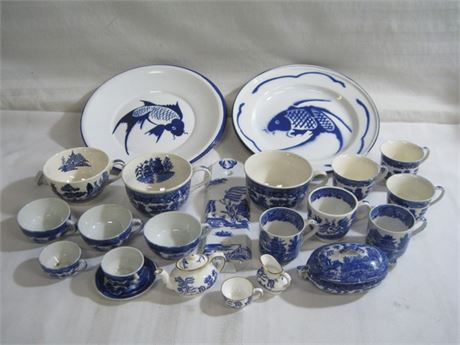 25 PIECE MISC. LOT - BLUE WILLOW AND KOI PLATES