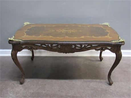 Antique Ornate Coffee Table with Floral Inlay Top