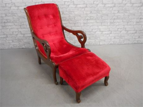 VINTAGE RED VELVET CHAIR WITH SCROLL ARMS AND FOOT STOOL