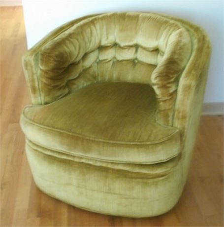 BERNE FURNITURE LOW TUFTED BACK UPHOLSTERED SWIVEL CHAIR