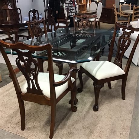 Beautiful Wood Glass Top Dining Set 6 Chairs Claw & Ball