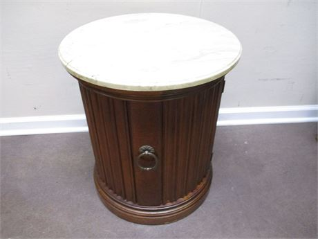 VINTAGE DRUM TABLE WITH MARBLE TOP