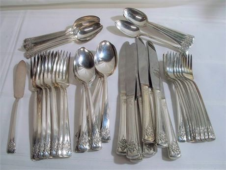 WM. ROGERS 8 PLACE SETTING SILVER-PLATE FLATWARE SET - 49 PIECES