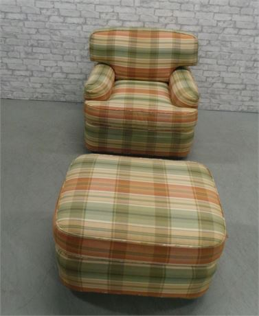 Comfy Swivel Arm Chair with Ottoman