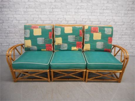 VINTAGE 1950'S HEYWOOD WAKEFIELD RATTAN 3 PIECE SECTIONAL/SOFA