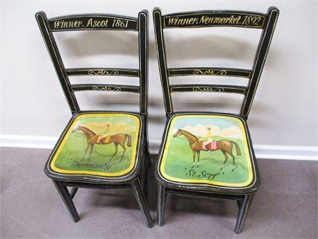 LOT OF 2 VINTAGE PAINT DECORATED HORSE RACING CHAIRS