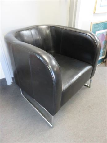 Black Leather Barrel Chair