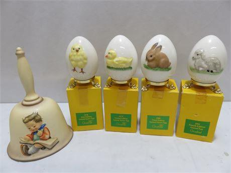 GOEBEL 1978-81 Annual Easter Egg Collection & Bell