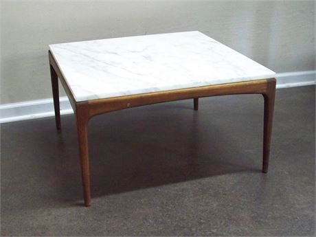 MID CENTURY MODERN MARBLE TOP COFFEE TABLE