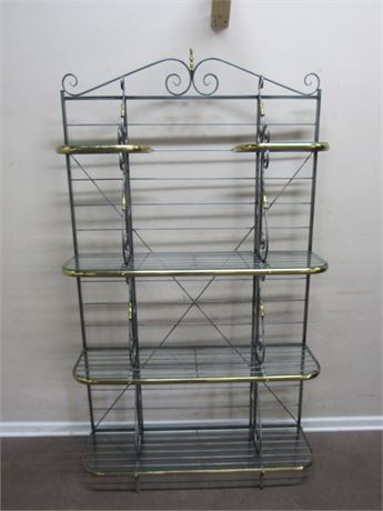 METAL/BRASS DISPLAY/BAKER'S RACK WITH GLASS SHELVES
