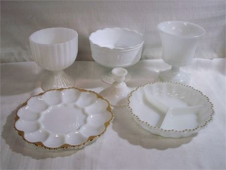 6 PIECE VINTAGE WHITE MILK GLASS LOT - E. O. BRODY AND ANCHOR HOCKING