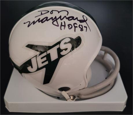 Don Maynard New York Jets Signed Throwback 2 Bar Mini Helmet w/ COA