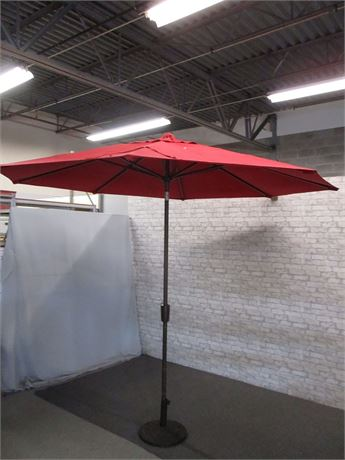 10-FT RED CANVAS OUTDOOR UMBRELLA