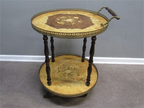 Marquetry Wood Inlay Style Round Tea/Service Cart