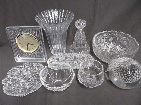 LOT OF VINTAGE CUT GLASS AND CRYSTAL