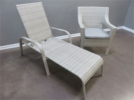 Synthetic Wicker Chaise Lounger & Chair