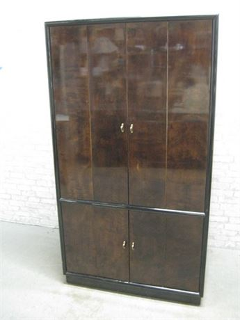 HENREDON SCENE THREE BLACK AND WOODGRAIN LAMINATE TV/ENTERTAINMENT ARMOIRE