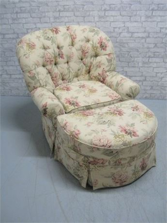 BRUARDS BIG COMFY FLORAL UPHOLSTERED OCCASIONAL CHAIR WITH FOOT STOOL