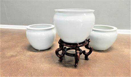 Three White Ceramic Planter Pots with One Stand