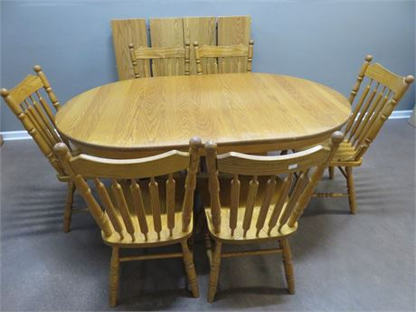 Double Pedestal Oak Dining Table Set