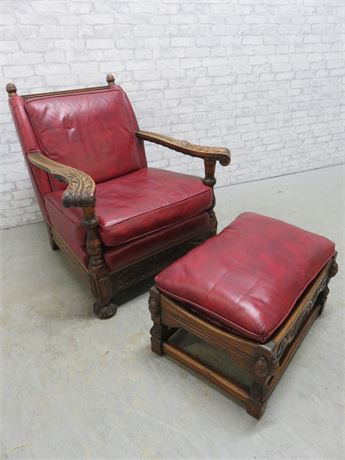 Vintage Carved Oak Naugahyde Chair & Ottoman
