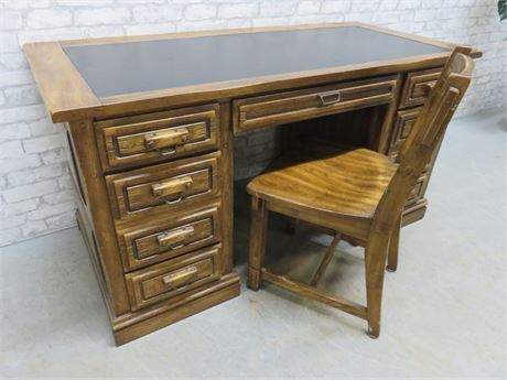 Leather Top Kneehole Desk