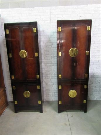 2 Hickory White Oriental/Asian Storage Cabinets