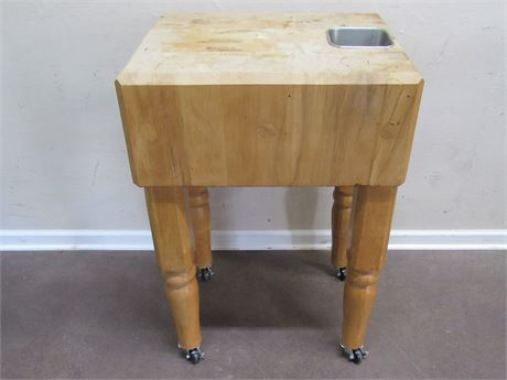 "BUTCHER BLOCK WORK TABLE ON CASTERS - 10-1/2"" THICK"