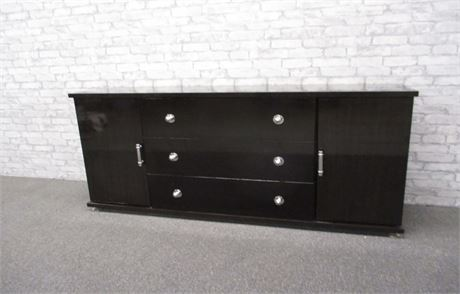 CONTEMPORARY-STYLE EBONY STAINED SIDEBOARD WITH CHROME ACCENTS