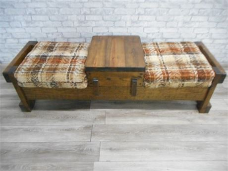 BY CORP. VINTAGE 1970'S RUSTIC FAMILY ROOM FURNITURE - BENCH WITH TABLE TOP