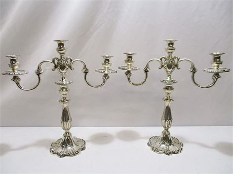 "LOT OF 2 ROCHAMBEAU STERLING CANDLABRA - ""REINFORCED WITH CEMENT"""