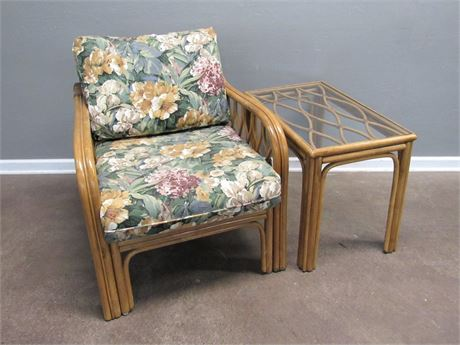 Great Looking Rattan Patio/Sunroom Chair with Floral Cushions and End Table