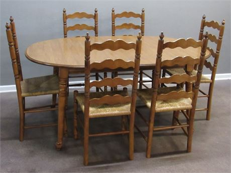 Dining Table with 6 Rush Seat Chairs and 2 Leaves