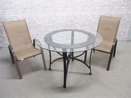 CAFE PATIO TABLE AND 2 CHAIRS