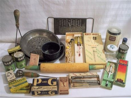LARGE VINTAGE KITCHENWARE/ADVERTISING LOT - 23 PIECES