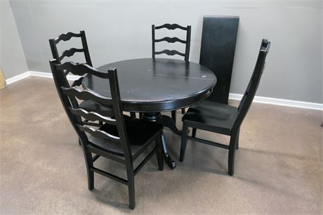 Round Ebony Wood Table, 4 High Back Chairs and a Leaf