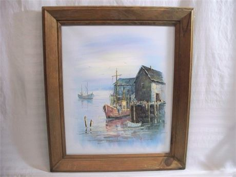 WHARF SCENE - OIL ON CANVAS BY A. SIMPSON