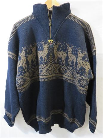 DALE OF NORWAY Men's 100% Wool Nordic Pullover Sweater - Size L