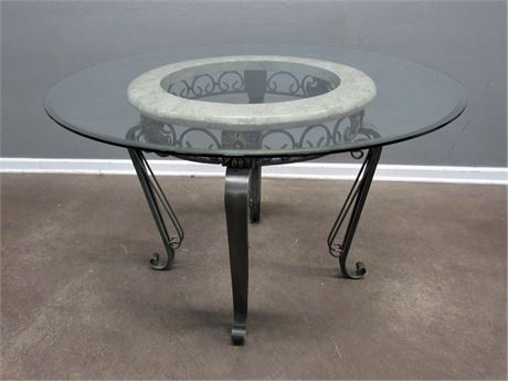 Beveled Glass Top Dining Table with Marble and Metal Base
